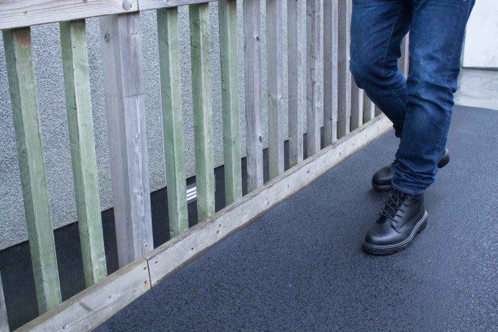Man walking on High Duty Grit walkway