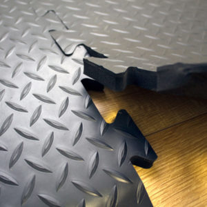 Close up of black Diamond Detailing Interlocking Tiles