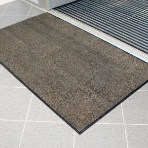 Beige Microfibre Washable Doormat outside entry to doors