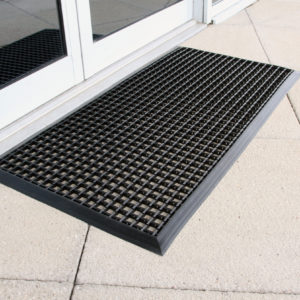 Black Outdoor Entrance Mat outside doors to a house
