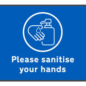 Please sanitise your hands mat on white background