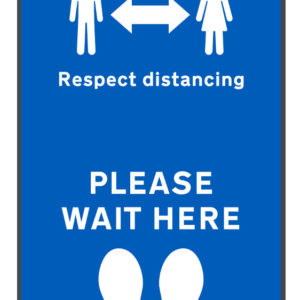 Respect distancing & please wait here mat on white background