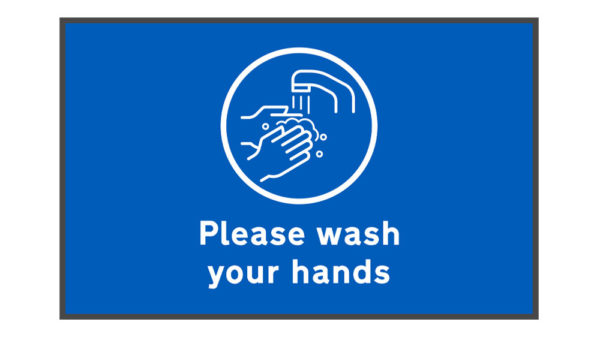 Please Wash Your Hands Mat on white background