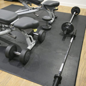Bench and gym weights on interlocking gym tiles