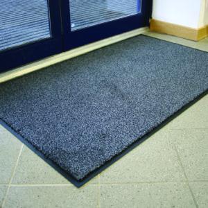 Grey Washable Doormat inside doors to building entrance