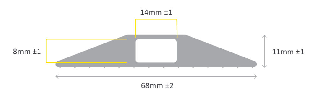 Diagram showing lengths of Normal Cable protector pro