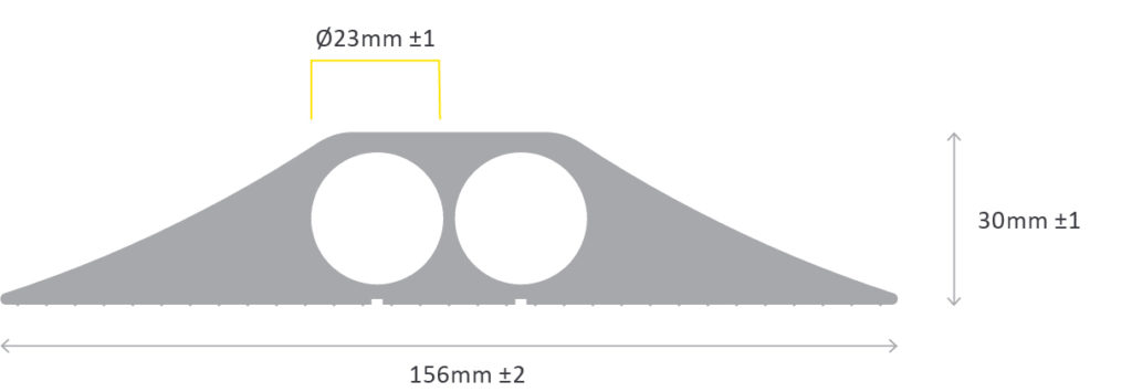 Diagram showing lengths of two ducked heavy duty cable protector